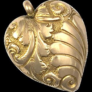 Antique c.1900 9K Rose Gold Heart Pendant