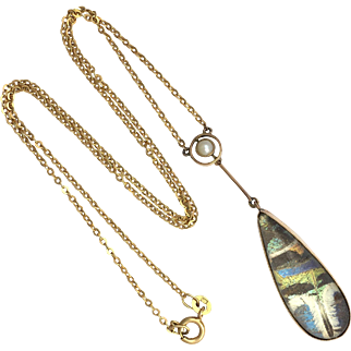 Art Deco 9K Gold Butterfly Wing, Rock Crystal and Seed Pearl Necklace