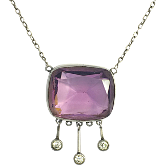 Edwardian Silver and Paste Amethyst Necklace