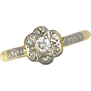 Antique 18K Gold, Platinum and Diamond Daisy Cluster Ring