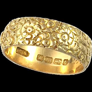 1893 Large 18K Gold Engraved Mizpah Ring