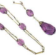 Very Long Vintage Amethyst Glass Filled Gold Lavalier Chain Flapper Necklace