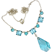 Art Deco Sterling Silver Blue Cut Glass Necklace