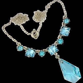 Art Deco Sterling Silver Blue Cut Glass Necklace