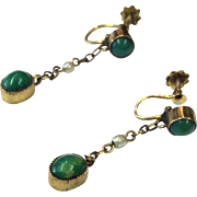 Victorian Turquoise 9K Rose Gold and Seed Pearl Screwback Drop Earrings