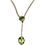 Vintage Peridot and 9K Gold Drop Necklace