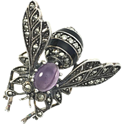 Amethyst, Silver, Marcasite and Enamel Insect Brooch