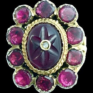 Antique Georgian Style Diamond, Almandine Garnet 9K Gold Ring