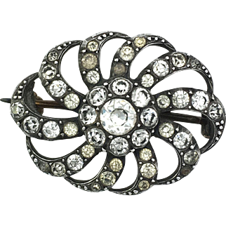 Antique Georgian Style Silver Paste Brooch
