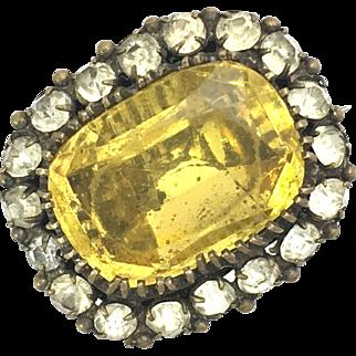 Antique 19th Century Yellow Paste Brooch