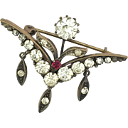 Art Nouveau Paste Diamond and Ruby Dangle Brooch
