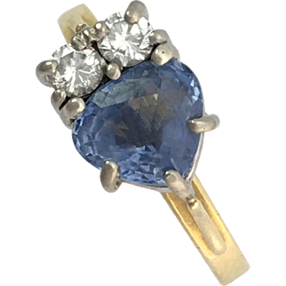 Vintage 18K Gold, Diamond and Heart-shaped Sapphire Ring