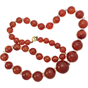 Vintage Cornelian Bead Necklace with 9K Gold Clasp