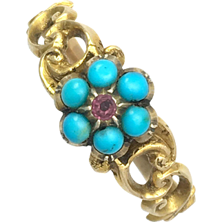 c.1850 Victorian 18K Gold Turquoise and Almandine Garnet Mourning Ring