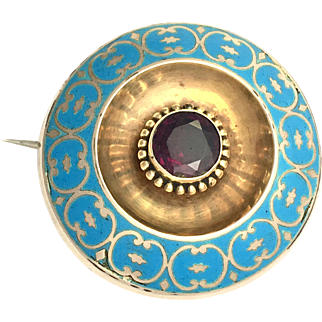 Victorian 9K Gold and Amethyst Cushion Brooch with Secret Compartment
