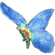 Large Art Deco Sterling Silver and Enamel Butterfly Brooch