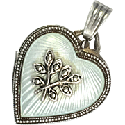 Vintage Silver Enamel and Marcasite Heart Locket Pendant
