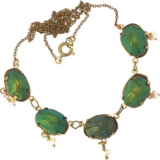Antique Real Scarab Beetle and Seed Pearl Necklace