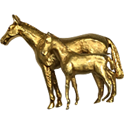 Vintage Solid 9K Gold Mare and Foal Pin