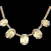Antique Edwardian Citrine 9K Gold Rivière Chain Necklace