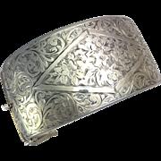 Wide Vintage Engraved Sterling Silver Hinged Bangle