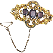 Antique Victorian 9K Gold Tourmaline Brooch with Safety Chain