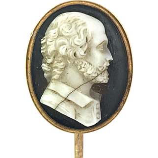 Antique 9K Gold Carved Agate Shakespeare Cameo Stick Pin