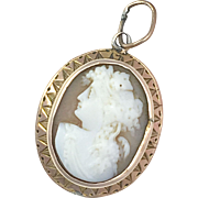 Antique Victorian 9K Rose Gold Cameo Pendant