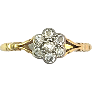 Antique Victorian 18K Gold and Diamond Flower Cluster Ring