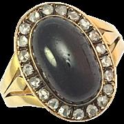 Antique Victorian Carbuncle Garnet and Rose Cut Diamond 18K Gold Ring