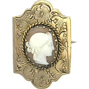 Antique Victorian 9K Gold Cameo Plaque Brooch/Pendant