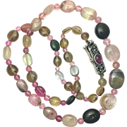 Vintage Tourmaline Bead Necklace with Silver Clasp