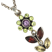 Vintage Citrine, Garnet, Olivine and Amethyst Silver Flower Pendant Necklace