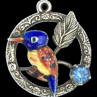 Art Nouveau Ward Bros Enamelled Silver Kingfisher Pendant