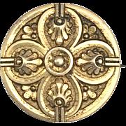 Antique Victorian Round Pinchbeck Brooch