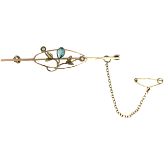 Antique 9K Rose and Yellow Gold Seed Pearl Bar Brooch