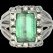 Vintage Green Tourmaline, Diamond and Platinum Ring
