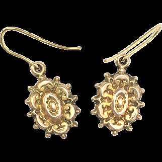 Antique Victorian 9K Gold Drop Earrings