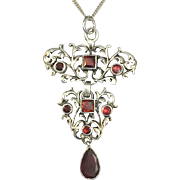 Antique Garnet-set Sterling Silver Necklace/Bow Dangle Brooch