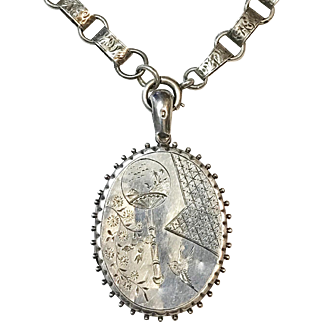 Antique Victorian Silver Aesthetic Period Locket Pendant and Book Chain