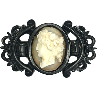 Antique Victorian Whitby Jet Carved Shell Cameo Brooch