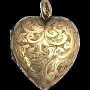 Large Antique Victorian 9K Rose Gold Heart Locket