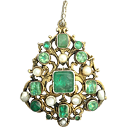 Large Georgian Emerald and Pearl Silver Gilt Pendant