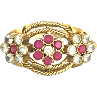 Vintage 18K Gold Ruby and White Spinel Ring