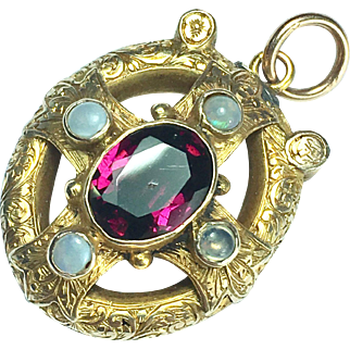 Antique Victorian 9K Gold Amethyst and Opal Pendant