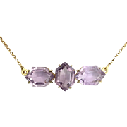 Victorian Three-Stone Amethyst Silver Gilt Brooch Conversion Necklace - Red Tag Sale Item