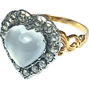 Antique Georgian 22K Gold, Heart-shaped Moonstone and Rose-cut Diamond Ring