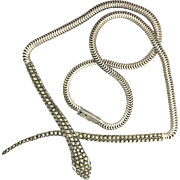 Vintage 1960s Sterling Silver Marcasite Snake Head and Tail Necklace