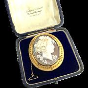 Impressive Antique 18K Gold Carved Shell Bacchant Cameo Brooch - Fattorini?