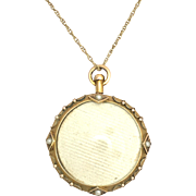 "Antique Victorian 9K Gold Double-Sided Locket with Seed Pearls on 18"" Chain"